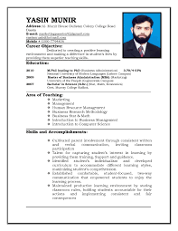 Sample Resume Format For Job Application For