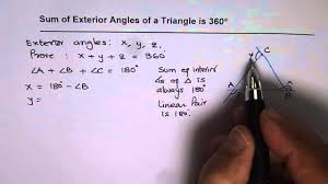 exterior angles of a triangle proof. prove that the sum of exterior angles in a triangle is 360 degrees - youtube proof