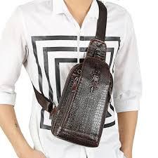 vintage men genuine leather sling day pack chest bag crocodile grain pattern travel cross messenger shoulder packet pouch leather purse womens purses