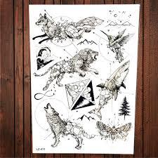 новинка акварель лиса волк голова льва временные татуировки стикеры Mountain Hill