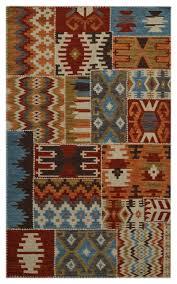 patchwork aztec wool floor rug multicoloured 180x120 cm