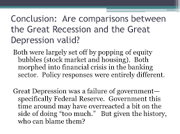 the great recession of and the great depression of the s  38 conclusion are comparisons between the great