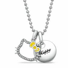 hello kitty 35th anniversary sterling silver happy pendant with white sapphires and diamond accent