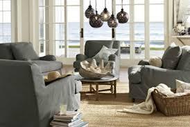 coastal living lighting. Gray And Natural Coastal Living Room With Slipcovered Sofa Chairs Lighting