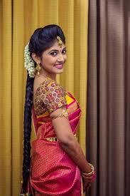 bridal hairstyle for silk saree south indian bridal makeup ideas