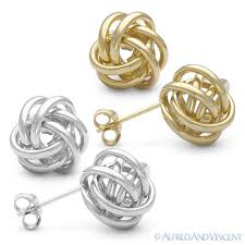 details about 14kt solid yellow white gold 11mm love knot stud earrings 14k 14 kt studs