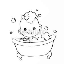 baby bathing in the bathtub coloring