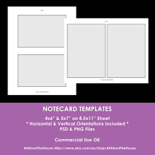 Notecard Photoshop Templates 4 X 6 Inch 5 X 7 Inch Digital Collage Sheet Layered Template Psd Png Diy Party Template Commercial