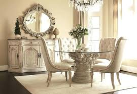 white glass table and chairs vintage round glass dining table set for 4 with white tufted