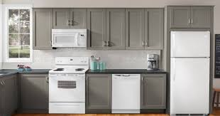 beautiful kitchen decorating with white appliances and grey