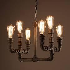 industrial 6 light water pipe shaped industrial edison light bulb chandelier