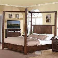 This Contemporary Queen size Wood Canopy Bed with Storage Drawers in ...