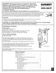 "installation and wiring instructions for the tl sargent wiring instructions for ecoflexâ""¢ electrified mortise locks"