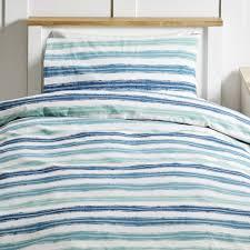 wilko stripe blue and teal easy care single duvet set image