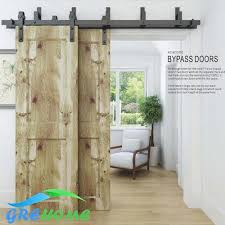 2018 4 9ft 6ft 6 6ft carbon steel byp black rustic barn door sliding track system from grehome 120 61 dhgate