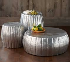 unique hammered coffee table of silver metal round