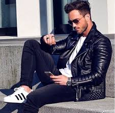 men s black quilted leather biker jacket white crew neck t shirt black skinny jeans white and black athletic shoes men s fashion lookastic com