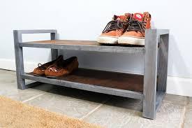 metal and wood shoe rack