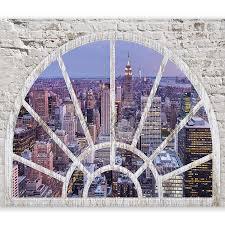 Murando Fototapete Fenster Nach New York 400x280 Cm Tapete