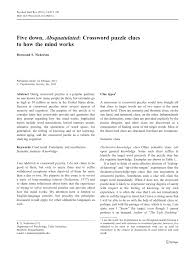 Print copies for an entire class. Pdf Five Down Absquatulated Crossword Puzzle Clues To How The Mind Works