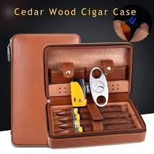 leather cigar case with cutter and lighter portable leather travel cigar case cedar wood lined cigar