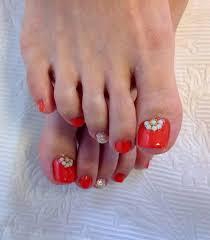 オレンジカラーフットネイル Nail At Home