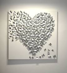 silver metal heart wall art