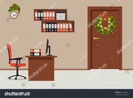 office decoration for christmas. Office Room, Decorated With Christmas Decoration. There Is A Table, Red Chair Decoration For T