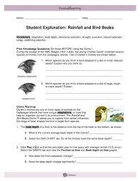 Bird Beak Chart Student Exploration Rainfall And Bird Beaks