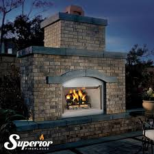 Superior Fireplaces VRE4342ZE 42 Outdoor Electronic Fireplace With Fireplace Refractory Panels