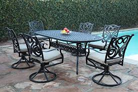 cbm outdoor patio furniture 7 piece g aluminum dining set with all swivel chairs