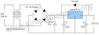 24vdc power supply circuit diagram motorcycle schematic 24vdc power supply circuit diagram 24v dc power supply circuit using lm7824 ic 24vdc