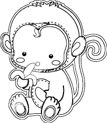 Cute Baby Monkey Coloring Pages Courtoisiengcom