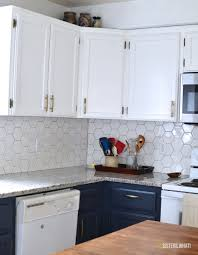 a two toned diy kitchen remodel with hexagon tile