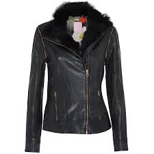furrly detachable sleeves leather jacket in black