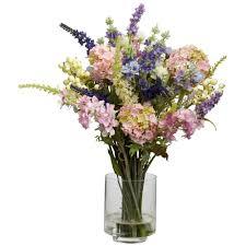 h assorted lavender and hydrangea silk flower arrangement