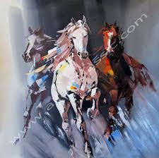 original painting running horses abstract art