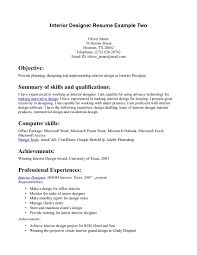 Interior Design Resume Cover Letter Free Resume Example And