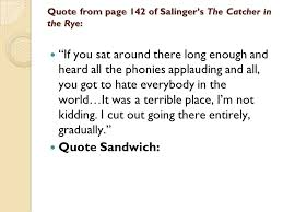Catcher In The Rye Quotes Awesome JD Salinger's The Catcher In The Rye Ppt Download