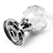 a pair of clear extra large crystal glass door knob handle for doors uk