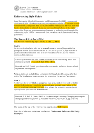 Referencing Guidelines For Lund University School Of Economics And
