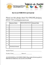 Walk A Thon Form Walk Thon Pledge Sheet Rome Fontanacountryinn Com