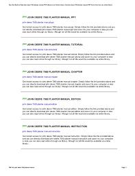 John Deere 7000 Planter Settings Chart John Deere 7000 Planter Manual