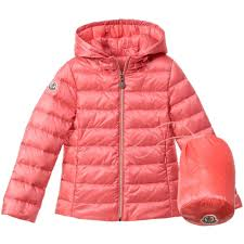 MONCLER Girls Coral Pink Down Padded  Iraida  Jacket ...