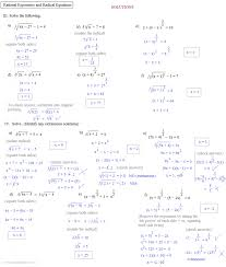 solving equations with fractional exponents worksheet jennarocca rational exponents and radical equations 2 solu