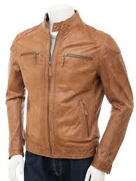 men s leather biker jacket in tan kielce front