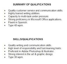 Examples Of Qualifications For Resumes Summary Of Qualifications For Students