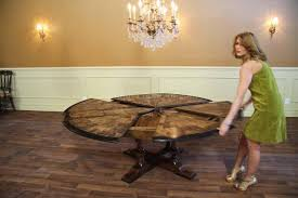 Round Dining Table For 6 With Leaf Solid Walnut Oyster Inlaid Jupe Table Ebony Expandable
