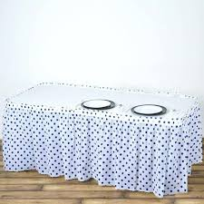white polka dot table cloth pleated spill proof waterproof wipe clean polka dots table skirt white