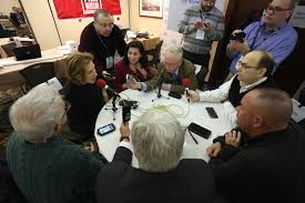 carly fiorina sits down to a round table discussion at the talk media news radio row in manchester n h february 8 2016 photo luke vargas talk media